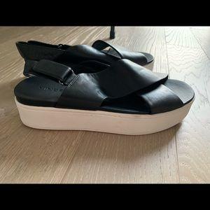 Vince weslan black leather sandals 9